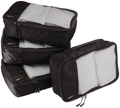AmazonBasics Lot de 4sacoches de rangement pour bagage TailleS, Noir