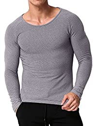 MODCHOK Men's Long Sleeve T Shirts Casual Tee Tops Crew Neck Sweatshirt Slim Fit