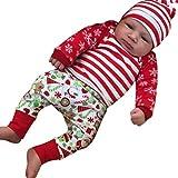 OVERDOSE 3pcs Baby Mädchen Jungen Weihnachtskostüm Langarm Romper Tops Bluse Strampler + Deer Hosen + Kappe Weihnachten Outfits Kleidung Satz (0-3 Monate, B-Red)