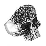 Adisaer Ring Silber Antik Ring Edelstahl Herren Schwarz Silber Bar Punk Schädel Toten Kopf Diamant Schwarz Ringgröße 67 (21.3) Gothic Retro Vintage Verlobung Ring Für Herrn