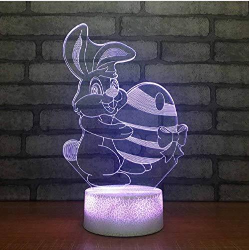 LIUJINHAI 7 Farbe Video nachtlicht 3D LED Cartoon Kaninchen süßigkeiten licht Kinder USB Touch tischlampe Baby Schlaf Beleuchtung (Video Cartoons)