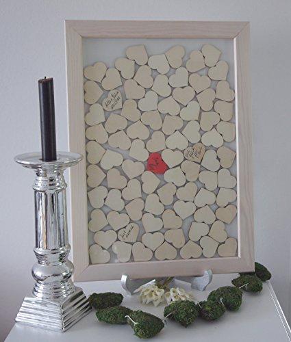 Laserano© Hochzeitsgästebuch Drop In Bilderrahmen Gästebuch personalisierbar individuelles Geschenk zu Hochzeit Massivholz + Standfuß + Gelstifte