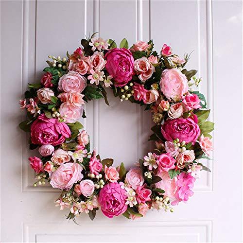 VHVCX Weihnachtskranz Dekorationen Tür hängende Ornamente Blumengirlande Simulation Blumenkranz für Hochzeit 45CM