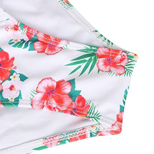 Walant Damen Schwimmen BadeanzugBlumendruck Hohe Taille Sommer Bikini Set Weiß