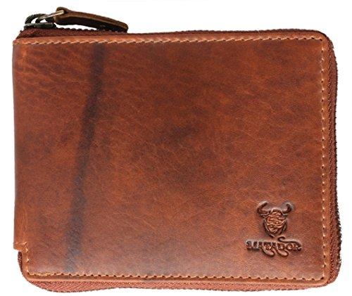 MATADOR Geldbörse Geldbeutel Portmonee Damen Herren weiches Rindsleder Reißverschluss RFID Braun (Zwei Reißverschluss Leder)