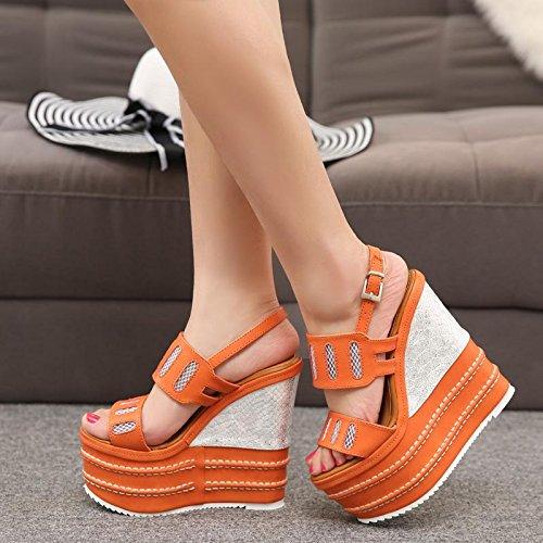 LvYuan Sandales d'été pour femme / Bureau et carrière / Sexy Ultra High Heel / Plateforme étanche / Talon compensé / Boucle / Style national de Bohême Orange