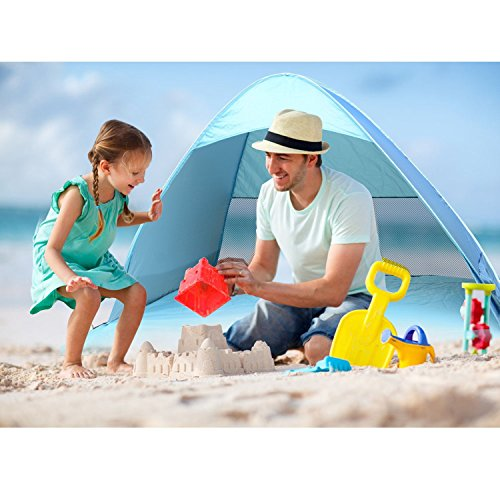 Tragbare Automatische Pop Up Camping Strand Schatten Zelte - Sun Shelter Canopy Sun Shade Sport Shelter Geschwindigkeit offenen Outdoor UV Picknick Quick Cabana-- travelinstant blau