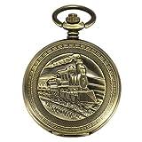 ManChDa Antike automatische mechanische Taschenuhr Bronze Jäger 3D Dampf Zug Eisenbahn Muster Fall Skelett für Männer Frauen mit Kette + Geschenkbox