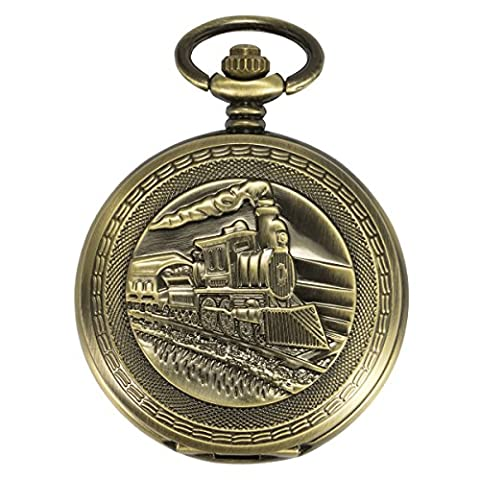 ManChDa Antique Pocket Watch 3D Steam Train Railroad Bronze Case Automatic Mechanical Movement + Gift