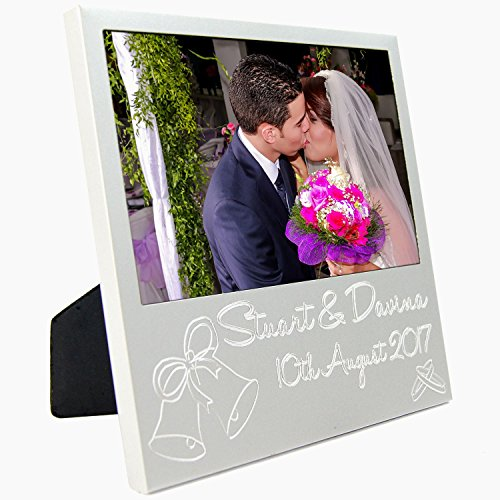 BabyRice personalisierbar silber Hochzeit Foto Rahmen Geschenk, Custom Frisch vermählte Braut Bräutigam Dekoration Familie (Für Frisch Geschenke Vermählte)