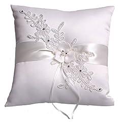 Idea Regalo - Heshifeng - Cuscino per anello nuziale, ricamato a fiori e arricchito con perle sintetiche, 21 x 21cm, avorio