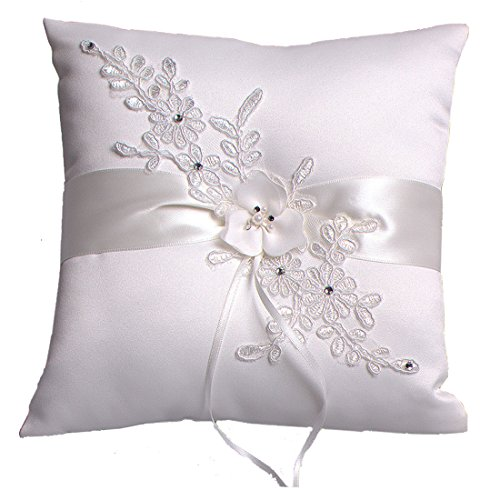 Hochzeit Ringkissen Kissen with Embroider Flower with Faux Pearl 21cm*21cm---Ivory