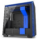 NZXT - Caja de ordenador H700i formato ATX con cristal templado e iluminación led RGB (CA-H700W-BL), color negro/azul