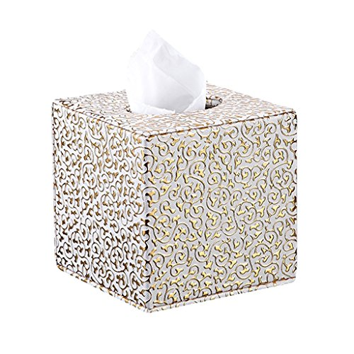 WEEKDEGY Tissue Cover Box, Platz PU Leder Tissue Halter für Home Office Car (Gold Carving)