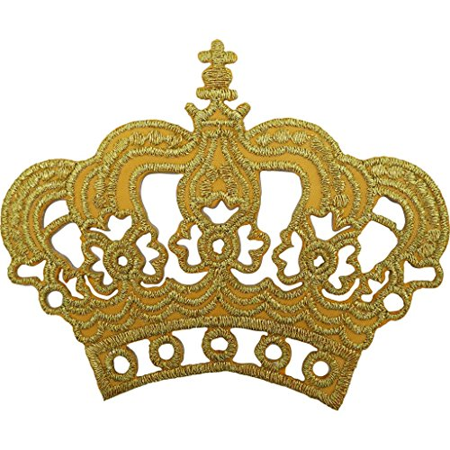 Oro Corona parche bordado hierro/sew on king queen