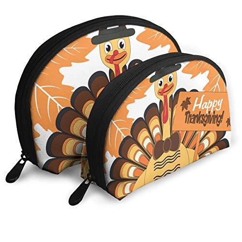 Happy Thanksgiving Türkei Kunst Womens Travel Makeup Bag Shell Kosmetiktaschen - Packung mit 2 (Thanksgiving-die Türkei Hat)