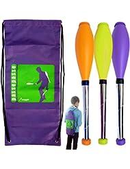 """Kit de 3 malabares club de malabarismo """"para siempre"""" durante 15 años +, 52 cm naranja, amarillo, púrpura mochila +"""