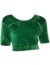 Grün Choli (Sari Oberteil) Samt Gr. 42 Gr. L ideal für Bauchtanz