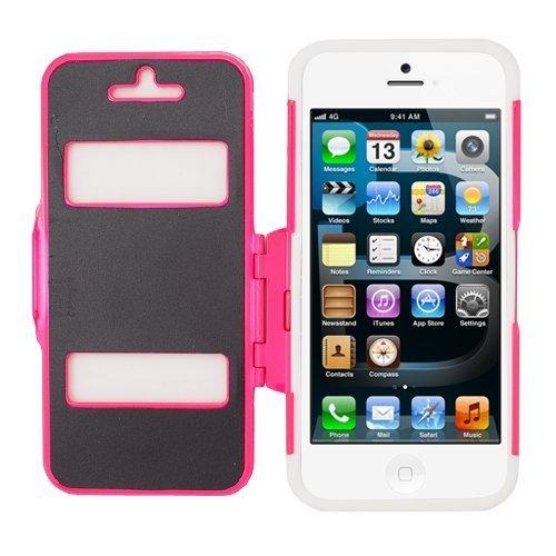 Eagle Zelle Folio Case für Apple iPhone 5/5S/SE-Retail Verpackung-Weiß/Hot Pink