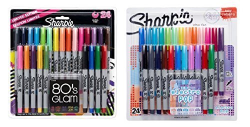Sharpie Ultra-Fine Point Permanent Markers, 80s Glam and Electro Pop Colors, 48 Markers In Total by Sharpie (Point Ultra Sharpie)
