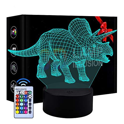 Regalo de cumpleaños para niños Niños, Lámpara LED 3D Regulable Regalo de luz Nocturna para niños de 4 a 10 años Juguete de luz Nocturna de Dinosaurio para niñas de 4 a 10 años