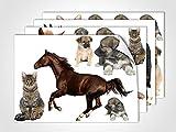 GRAZDesign 401029_4 Wandsticker Tiere | Wandtattoo mit Welpen und Pferden | Sticker Set für Kinderzimmer/Mädchen (DIN A4 (4Stück))