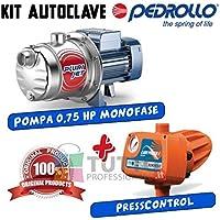 Kit autoclave Pompa multigirante autoadescante PEDROLLO PLURIJETm 4/80 0,75 HP + Pedrollo EASYPRESS 2 per autoclave cisterna pozzo serbatoio
