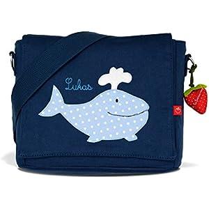 Kindergartentasche & Kindergartenrucksack in einem: Wal für Jungen (mit Namen) in blau
