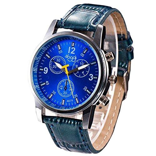 IG-Invictus Mode Krokodil Kunstleder Herren Analoge Uhr Armbanduhren BU Herrenuhr (Sloggi) Blau