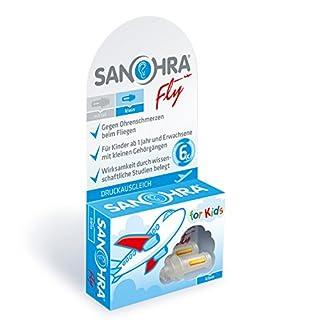 SANOHRA fly für Kinder, Ohrstöpsel mit patentiertem Filter gegen Ohrenschmerzen beim Fliegen