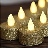 LOGUIDE f¨¹hrte flammenloses Gold Funkeln Votive Teelicht Kerze angetrieben durch Batterie Beleuchtung f¨¹r Hochzeit Weihnachtsdekoration 12pcs