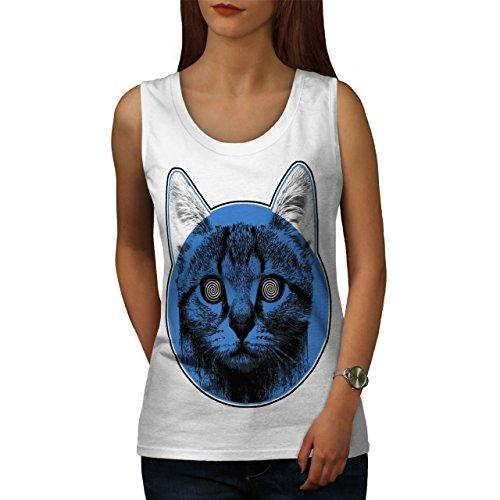 Kätzchen Katze Auge Strudel Damen Schwarz S-2XL Muskelshirt | Wellcoda Weiß