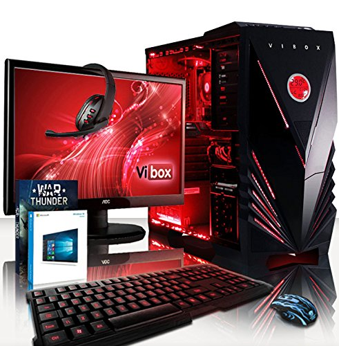 Affordable VIBOX Gaming PC – Sharp Shooter Package 7XSW – 4.0GHz AMD FX 4-Core CPU, GTX 1050 GPU, Advanced, Desktop Computer with Game Bundle, 22″ HD Monitor, Headset, Gaming Keyboard & Mouse, Windows 10 OS, Red Internal Lighting and Lifetime Warranty* (Super Fast AMD FX 4300 Quad 4-Core CPU Processor, Nvidia GeForce GTX 1050 2GB Graphics Card GPU, 8GB DDR3 1600MHz High Speed RAM Memory, 2TB (2000GB) Sata III 7200rpm Hard Drive HDD, 85+ Rated PSU Power Supply, Vibox Red Gaming Case, AM3+ Motherboard) on Amazon
