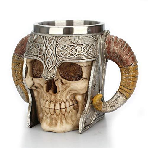 Oyamihin Ram Horned Edelstahl Schädel Becher Bier Ziege Horn Harz Kaffeetassen Halloween Bar Geschenk Teetasse Silber & Gold