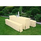 Hussen Set creme für 70cm Tisch, gepolstert, Festzeltgarnitur Gartendeko Hussenset Biertischgarnitur