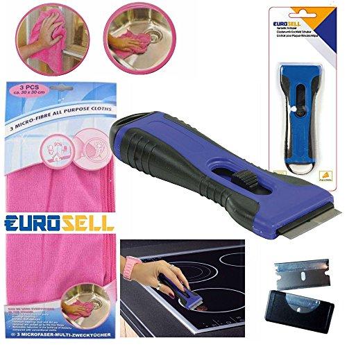 Eurosell-Premium-Glas-Ceran-Kochfeld-Schaber-Reiniger-3-Mikrofaser-Tcher-Reinigung-Ceranfeldschaber-Kochfeld