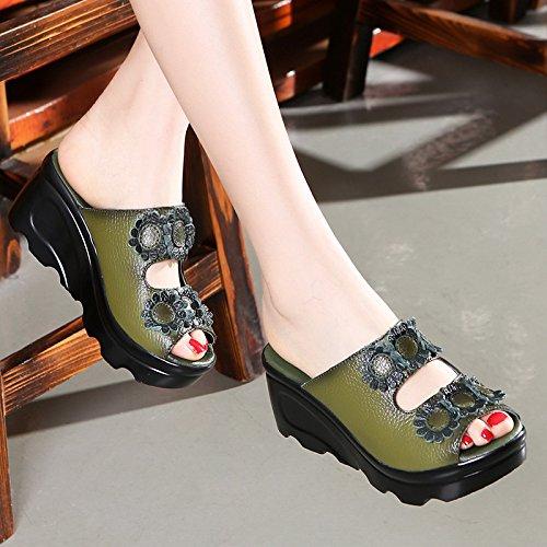 ZYUSHIZ Mme Fleurs fraîches chaussons aux Philippines avec fentes Faites glisser les chaussons Cool 36EU