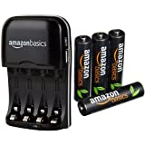 AmazonBasics Chargeur de piles Ni-MH AA et AAA avec port USB + 4 piles rechargeables type AAA 500 cycles