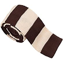 Vivente Vivo - Cravatta da uomo in maglia, a righe multicolori, stretta - marrone