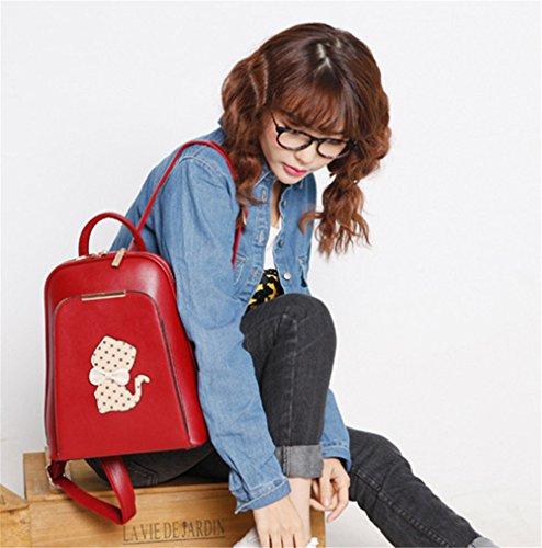 Damen Mädchen Mode Schule Studenten Bowknot Katze Druck Schnalle Rucksack Schultertasche Handtasche, rot rot