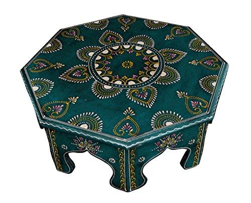 Lalhaveli Indian Designer Handmade Bois Table Petit Tabouret Tabouret 43 x 43 x 15 Cm