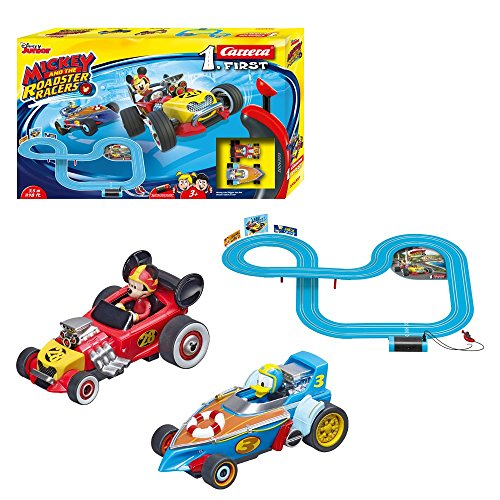 Carrera First Disney Mickey and The Roadster Racers 20063013 Rennbahn für Kinder ab 3 Jahren Mickey Mouse Vs. Donald Duck (Spielzeug Mickey Maus Für 3-jährige)
