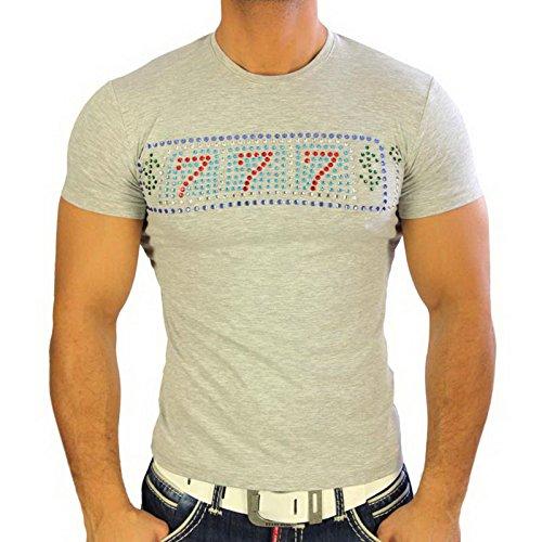 Herren T-Shirt Mix Motive Strass Steine Style Rundhals Kurzarm S M L XL XXL NEU 4319 Grau