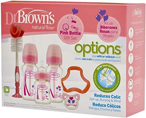 Dr. Brown's, 72239306857, Natural Flow, Options, Set de Regalo, Rosa