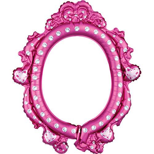 Amscan 3818101 Prinzessinnen Folienballon Selfierahmen Disney Princess, Pink/Weiß