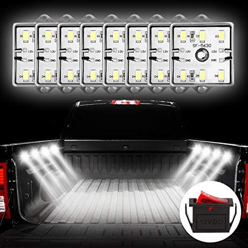 Favoto 8x6 LED DIY Licht für LKW Bett Auto Innenraum Beleuchtung mit Schalter IP67 Wasserdicht 5730 SMD LED Streifen Kits 12V für Garderobe Treppe Lager Reisezugwagen