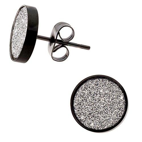Damen Ohrstecker Flache Schwarze Edelstahl Ohrringe mit Kristall Glitzer 10mm