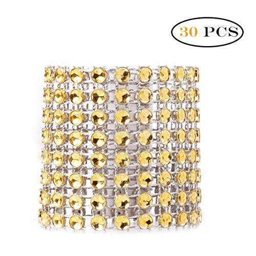 Freebily 10/30 pc 8 Reihen Strass Diamant Serviettenring für Weihnachten,Hochzeit,Taufe,Kommunion,Graduierung,Geburtstag,Bankett,usw. Silber Gold Gold 30 Pcs