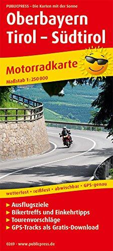 Oberbayern - Tirol - Südtirol: Motorradkarte mit Ausflugszielen, Einkehr- & Freizeittipps, wetterfest, reißfest, abwischbar, GPS-genau. 1:250000 (Motorradkarte / MK) (Motorrad-karten)