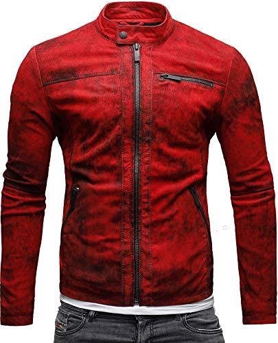 CRONE Epic Herren Lederjacke Cleane Leichte Basic Jacke aus weichem Schafs-Leder (L, Vintage Rot) - 3